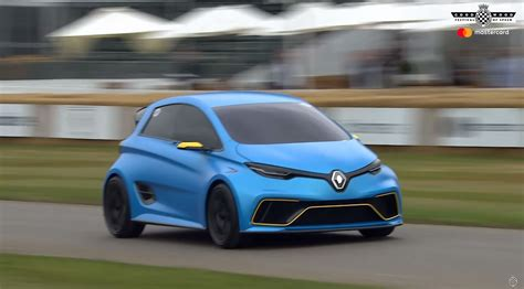 renault zoe renault zoe e sport concept makes rare goodwood appearance