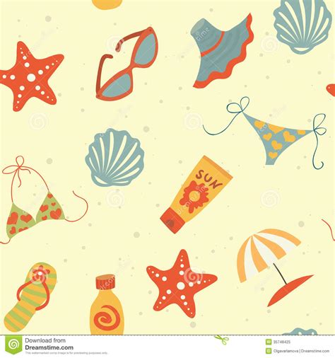 Beach Seamless Pattern Stock Illustration Image Of Lazy 35748425
