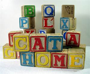 vintage small wood alphabet toy blocks abc letters animals With toy letter blocks