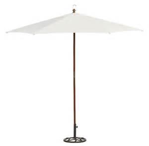 essential garden wood market umbrella white 9ft outdoor