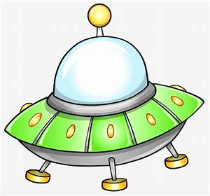 Small Green Flying Saucer, Alien, Ufo, Cartoon PNG Image ...