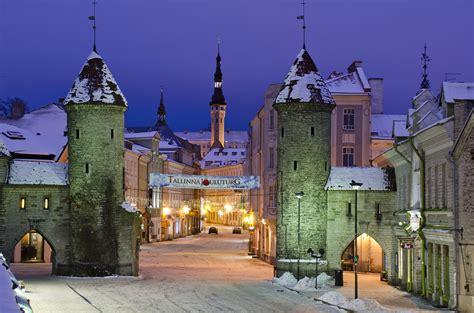 estonia winter houses street night street lights