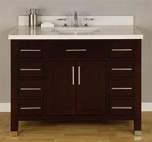 42 inch single sink modern dark cherry bathroom vanity for Bathroom vanity tops 42 inches