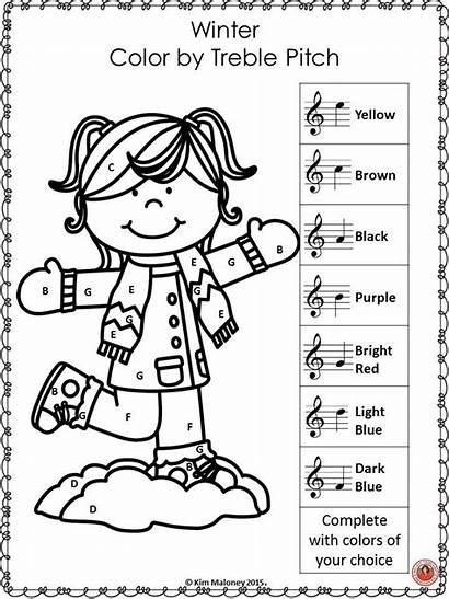 Coloring Notes Pages Worksheets Winter Piano Sheets