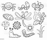 Bug Coloring Cartoon Line Vector Illustration Bee Insect Butterfly Istockphoto Fly Clip Bugs Dragonfly Phenomenon Fire Natural sketch template