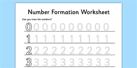 number formation worksheet    maths numeracy initial