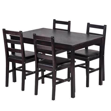 Tisch Dunkelbraun by New 5 Pcs Dining Table Set Brown 4 Chairs Table