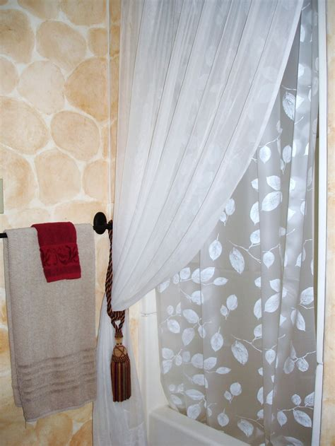 shower curtains with tie backs interior design ideas