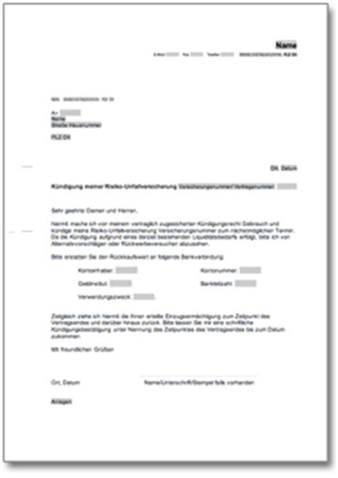 kuendigung risiko unfallversicherung de musterbrief