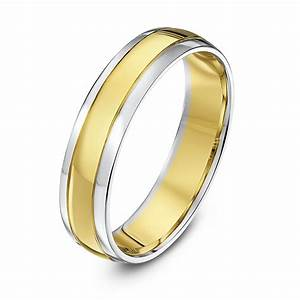 9kt white yellow gold court 5mm wedding ring With yellow wedding rings