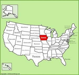 Iowa Location On The U S  Map
