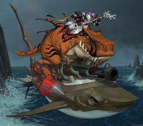 Undead Rock Star Riding A T-rex Driving A Cyborg Shark