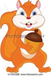Squirrel Holding Nut Clip Art