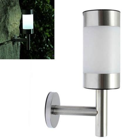1pc stainless steel garden solar white led ls wall mounted courtyard decor wall light silver