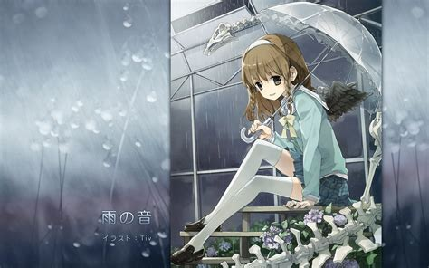 wallpaper flowers anime girls brunette wings rain