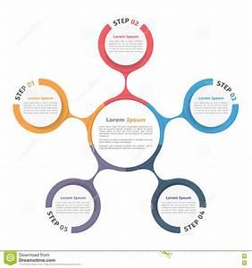 Circle Diagram Five Elements Stock Vector
