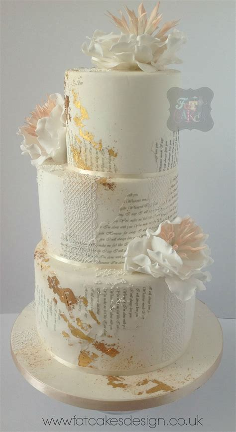 text wedding cake gold leaf lace peach and ivory
