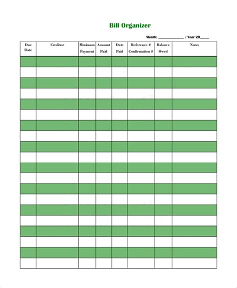 sample bill organizer  examples   word excel