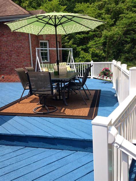 blue deck  white composite railing deck pained