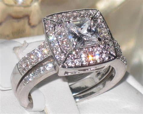2ps Engagement Ring Simulated Diamond Wedding Band