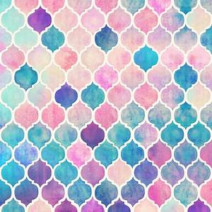 Rainbow Pastel Watercolor Moroccan Pattern extra small ...
