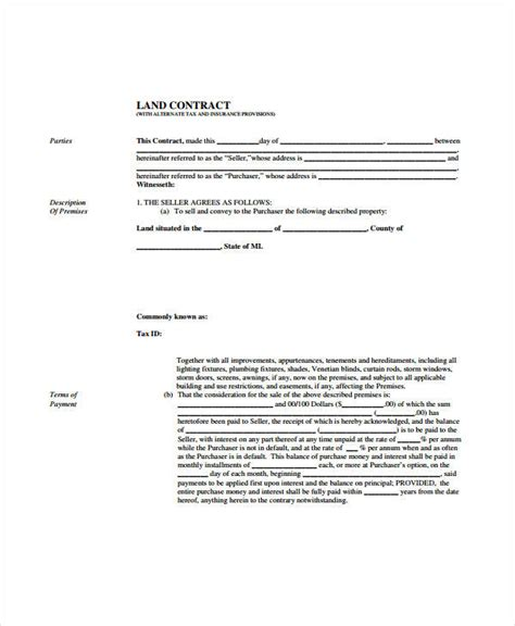 land contract forms  sample  format