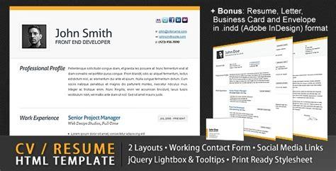 clean cv resume html template 4 bonuses