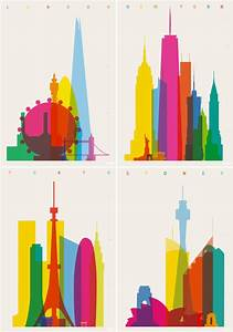 Colorful city silhouette prints by yoni alter tattoo for Colorful city silhouette prints by yoni alter