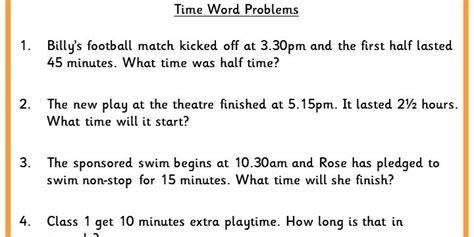 time word problems classroom secrets