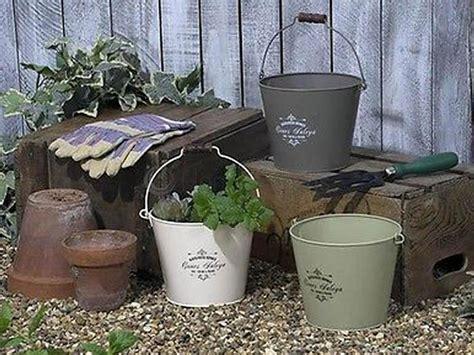 Large Vintage Metal Bucket Planter Garden Flower Pot With