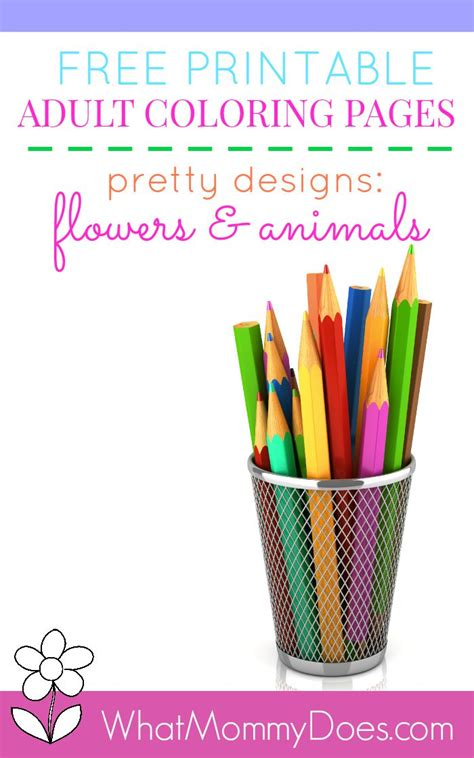 printable flower animal adult coloring pages  mommy