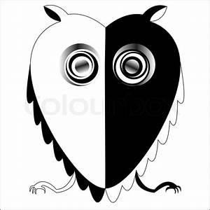 Black and white owl, abstract vector art illustration ...
