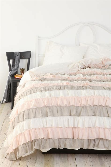 ruffle duvet cover 252 ber feminine ruffle duvet cover in pale pink grey