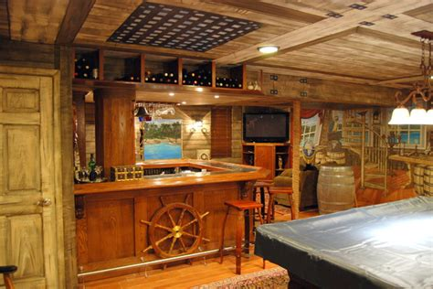 Pirate Ship Themed Murals Done In A 360* Around A Home Bar