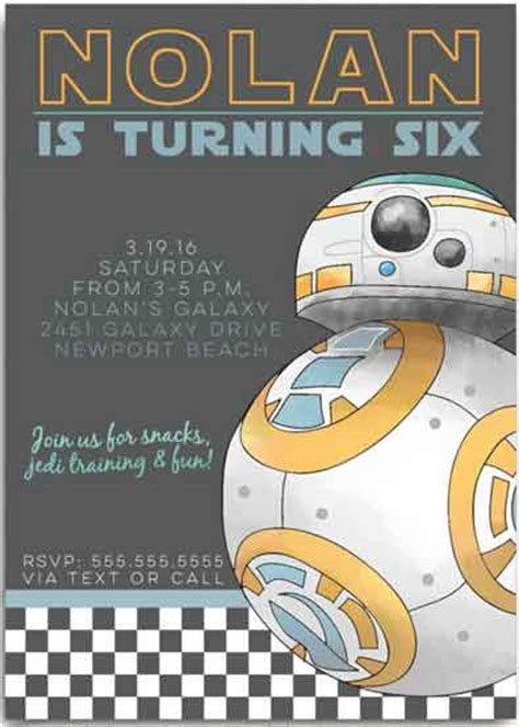star wars birthday invitations   pro party