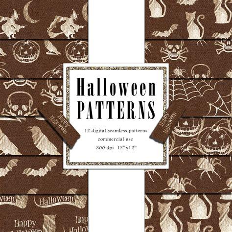 Halloween Digital Paper Rose Gold Foil Patterns Textile