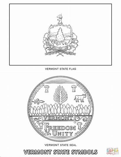 Vermont Coloring State Symbols Pages Flag Seal
