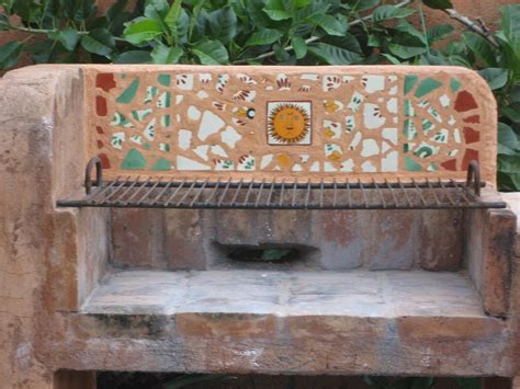 mexican tile mosaic   outdoors fireplace mexican home
