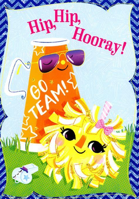 hip hip hooray cheerleading congratulations card  kids