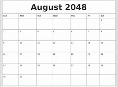 August 2048 Free Calendar Download