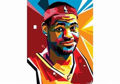 Lebron Vector Portrait Basketball James Players Geometric