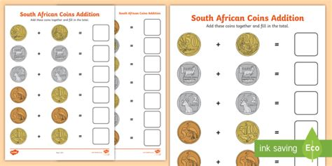 south african coins addition worksheet money addition