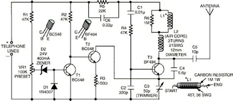 Phone Broadcaster Electronics Circuits Hobby