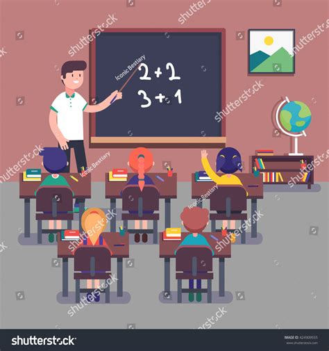 Kindergarten Teacher Teaching Math His Small Stock Vector 424909555 Shutterstock