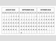 August & September & October 2018 Calendar November 2018
