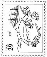 Coloring Stamp Office Marine Stamps Sheets Template Activity Usps Popular sketch template