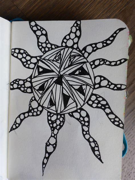 Mini-Sketchbook Sonne | Zentangle Sonne / Zentangle sun ...