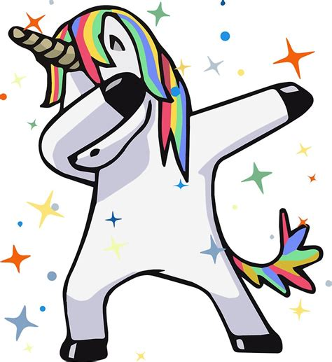 quot dabbing unicorn dance rainbows magic stars fluffy fun quot stickers by allgoodstuff redbubble