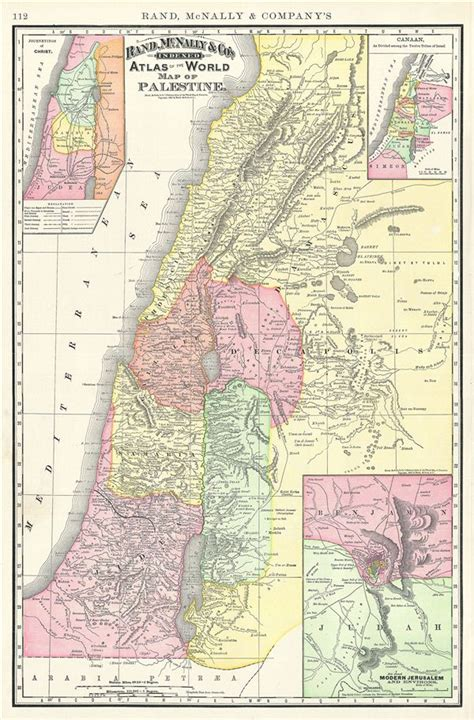 rand mcnally maps and directions map of palestine geographicus antique maps