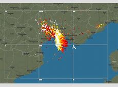 Thunderstorms ongoing over southern France intense